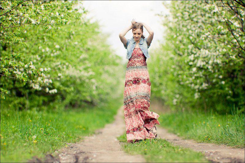 девушка, яблони *photo preview