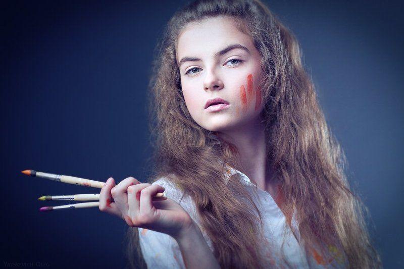 портрет, девушка, студия, анастасия, кисти, краски ***photo preview