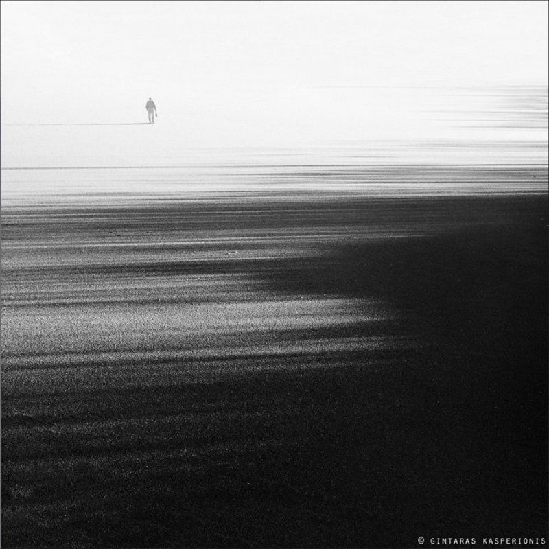 bw, b&w, landscape, ice, lake, winter, lithuania, man, alone, light, shadows, square Lifesphoto preview