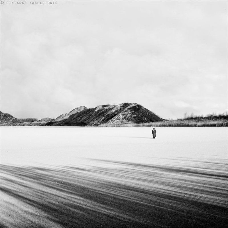 woman, old, lithuania, kasperionis, alone, ice, winter, snow, lake, hill, sky, square, art Lifesphoto preview
