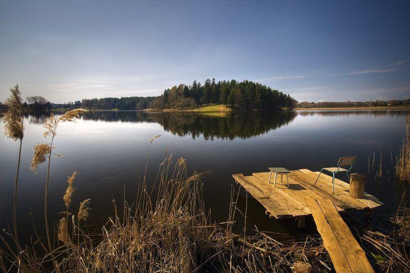 озеро, созерцание, рыбалка, стулья, мостик | Места в первом ряду |photo preview