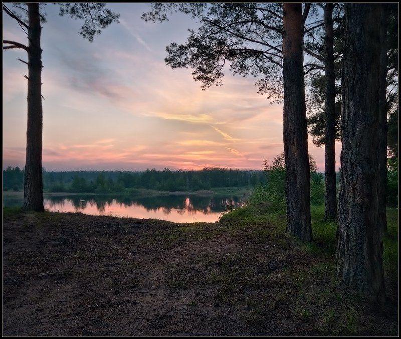 пейзаж, утро, лес, озеро ***photo preview
