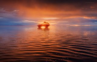 Вечерний пожар на Uyuni...
