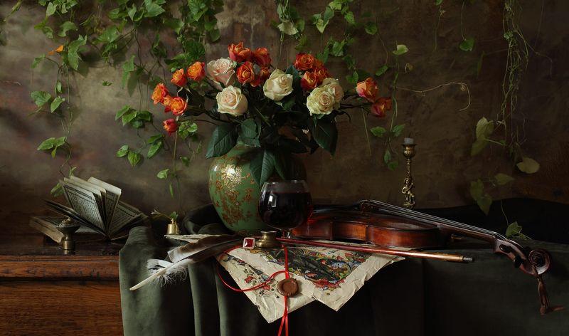 скрипка, музыка, розы, цветы, натюрморт Натюрморт со скрипкой и цветамиphoto preview