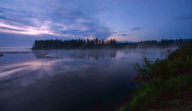 утро, рассвет, туман, солнце, свет, река, вода, иркут, бурятия Утро на реке Иркутphoto preview