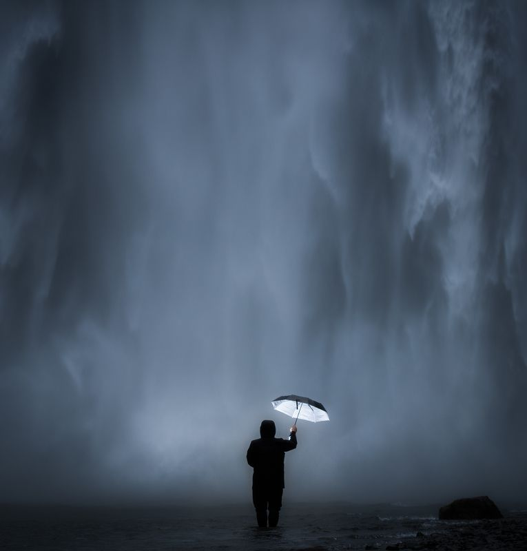 waterfall, iceland, umbrella Through the neverphoto preview