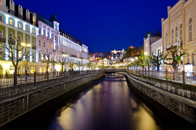 ночь, город, архитектура, улицы, туризм, европа, чехия, cityscape, night Карловы Варыphoto preview