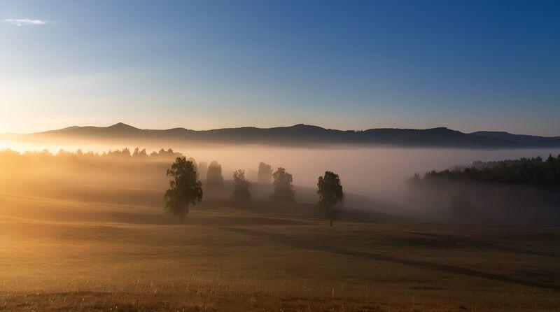 утро, рассвет, восход, туман, лучи Спозаранкуphoto preview
