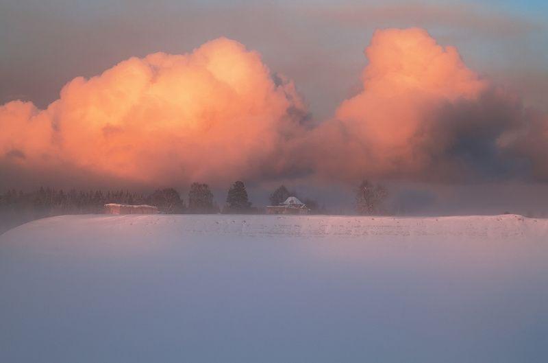 туман, зима, снег, река, закат, вечер, мороз Зимние туманыphoto preview