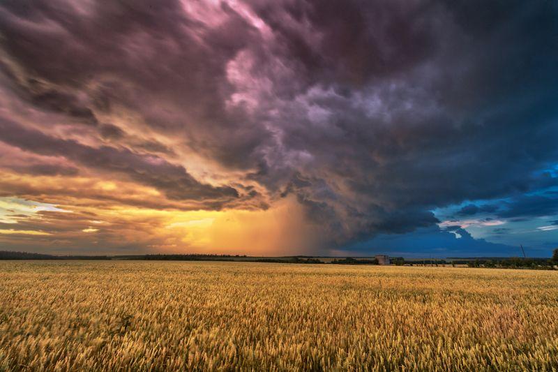 вечер,закат,лучи,отражения,тучи,пасмурно Уходящая буря 2photo preview