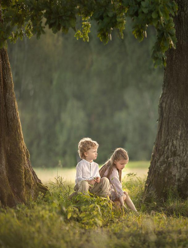 Детство, природа, счастье, лето, семья Наедине вдвоёмphoto preview