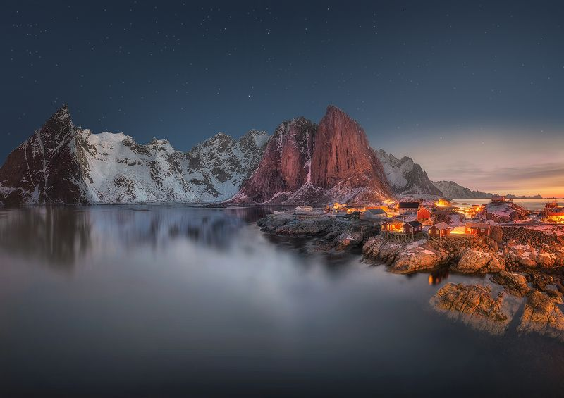 Hamnøy, Lofoten, Norway, night, stars, sunrise, mountain, fjord, light, sea,  Hamnøy photo preview