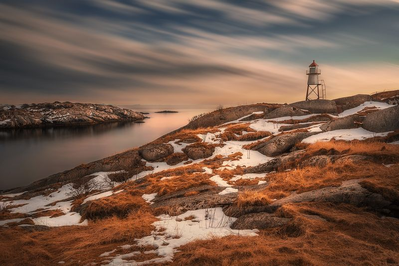 lighthouse, long exposure, lofoten, Norway, arctic, North, clouds, sea, mountains, islands, fjord, snow, spring,  Lighthouse in Henningsvaerphoto preview