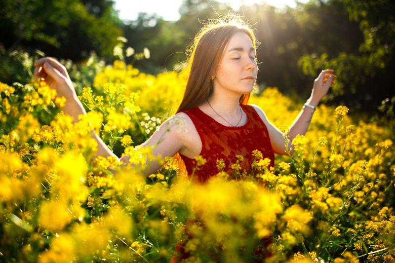 поле, цветы, в цветах, девушка в поле, желтые цветы, желтое поле, раскинутые руки, солнце, против света,  свободаphoto preview