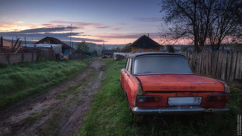 утро, рассвет, дорога, улица, деревня, сибирь, пермский край Деревенская улицаphoto preview