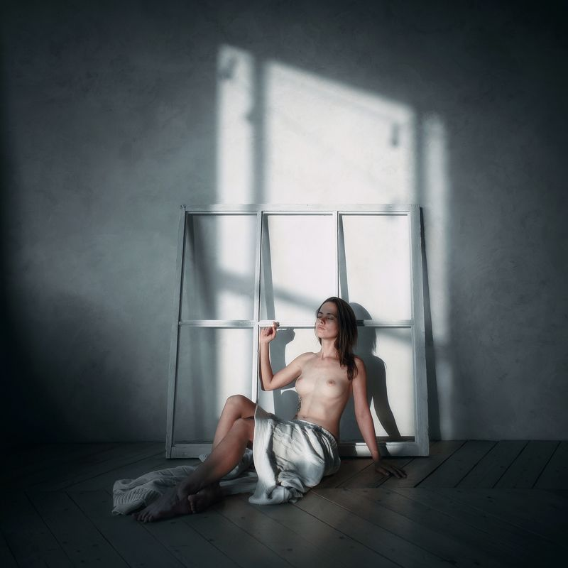 girl, model, nude, dream, silence, window, night, light, room, darkness, peace, russia Лунный светphoto preview
