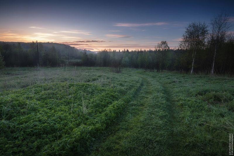 утро, рассвет, поле, дорога, деревня, Сибирь, Пермский край На рассветеphoto preview