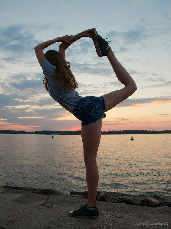 закат, река, девушка, грация, гимнастка, андрейларионов ***photo preview