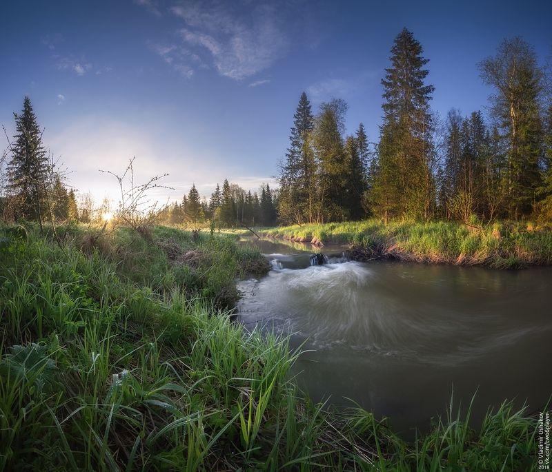 утро, рассвет, берег, река, волим, небо, пермский край Первые лучи рассветаphoto preview