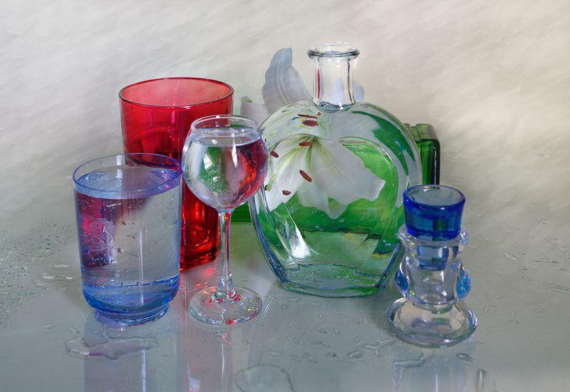 фото,стекло,натюрморт,вера павлухина,цветы, Стеклянный натюрмортphoto preview