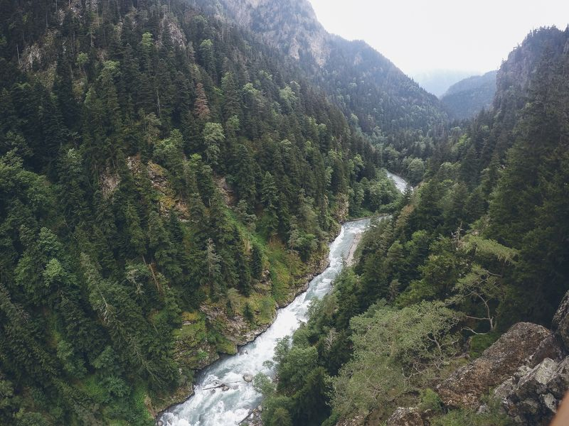 природа, пейзаж, ущелье, лес, река,  Ущельеphoto preview