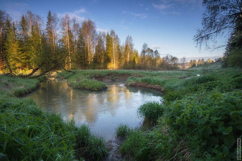утро, рассвет, река, волим, лето, пермский край р. Волимphoto preview