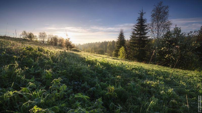 утро, рассвет, иней, поле, холм, солнце, сибирь, пермский край Утренний инейphoto preview