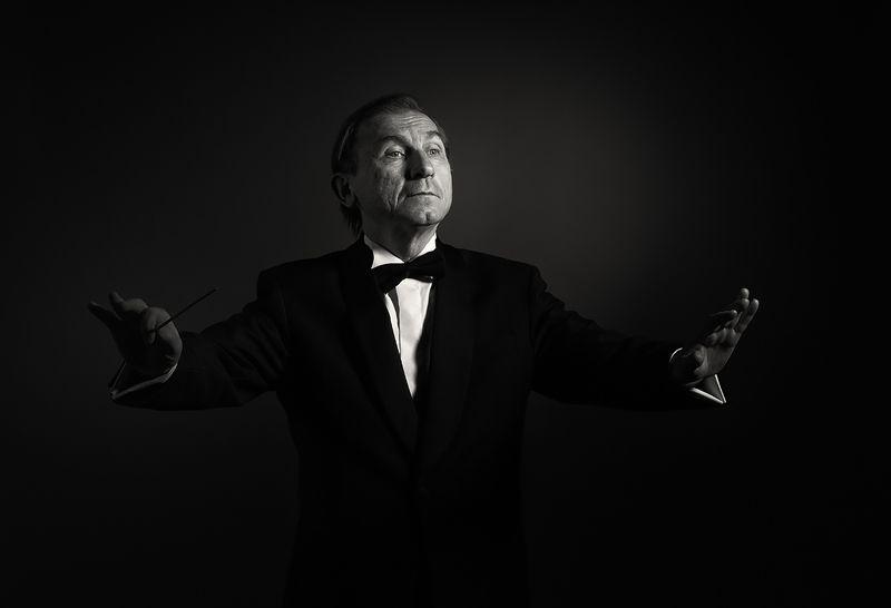 портрет, мужчина, дирижёр, музыка, чёрно-белое, эмоции, характер, Дирижёр.photo preview