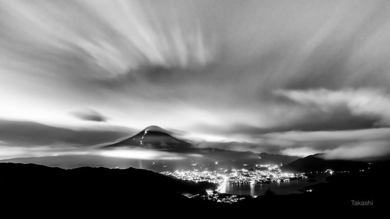 Fuji,Japan,mountain,clouds,dramatic,lake,night, Dramatic cloudsphoto preview
