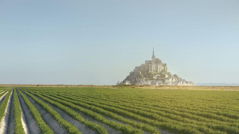 пейзаж, природа, архитектура, рассвет, свет, лето, замок, аббатство, панорама, Европа, Франция Part of the Pastphoto preview