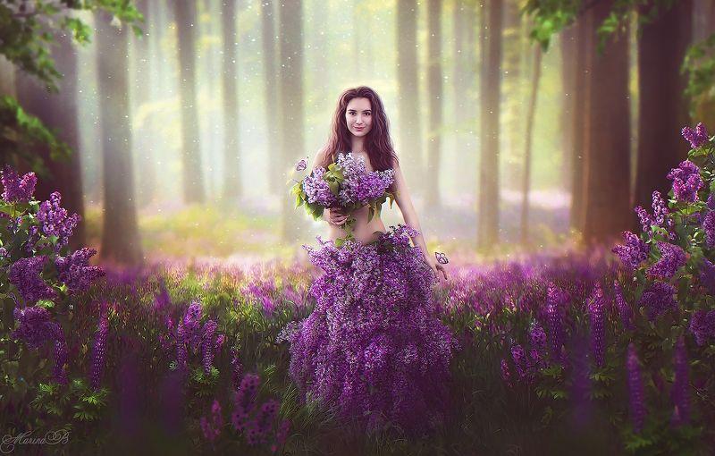 сказка, цветы, лес, сирень, нимфа Fairy art / Flower nymphphoto preview