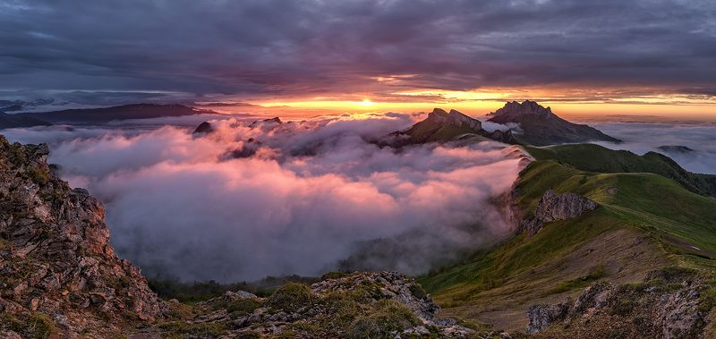 закат, большой тхач, малый тхач, асбестная, горы, пейзаж, рассвет, кавказ, адыгея, радуга, ачешбоки, Закатphoto preview