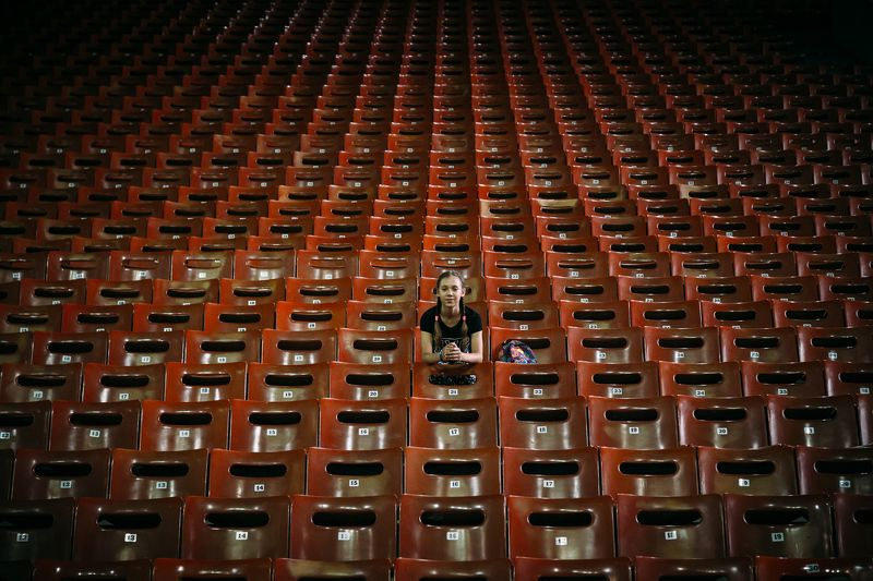 girl,stadium,arena,hall,seat,chair,symmetry,city,urban Stadium Arcadiumphoto preview