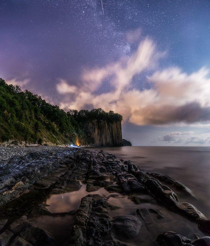 ночь, скала, море, черное море, длинная выдержка, night, nightscape, sea, seascape, long exposure, water, milky way, млечный путь Скала Киселеваphoto preview