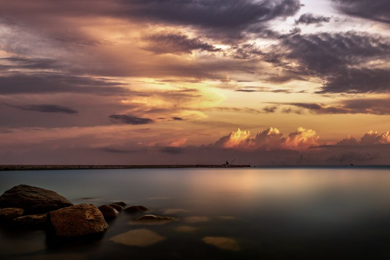 lithuania,long exposure,sunset,water,stones, Ожиданиеphoto preview