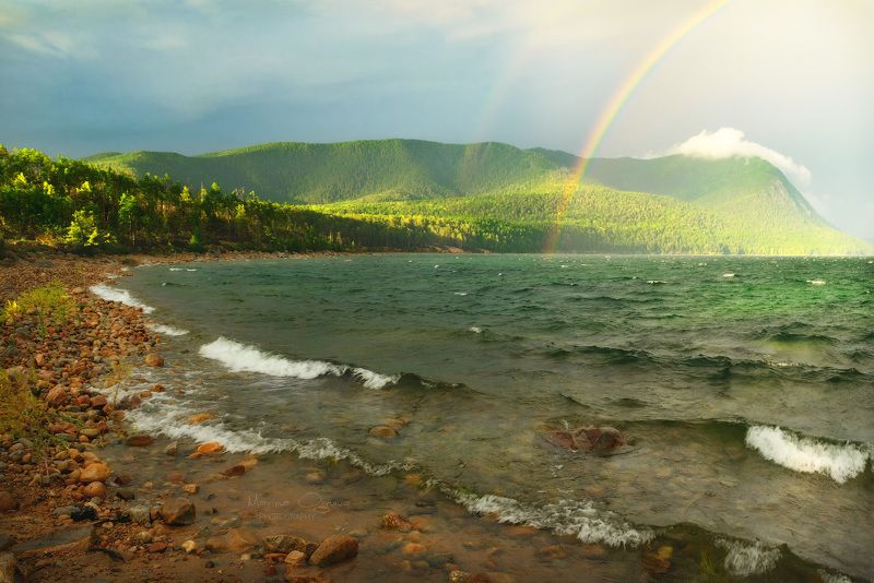 байкал, озеро, радуга, пейзаж Изумрудный Байкалphoto preview