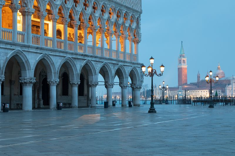 Doges Palace on Saint Mark square and  San Giorgio church , Veneziaphoto preview
