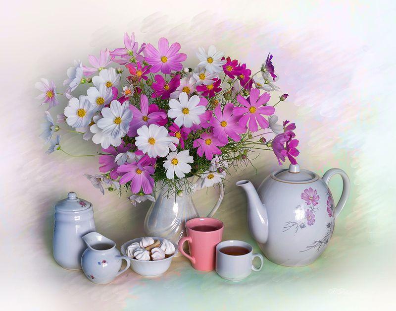 цветы,чаепитие,натюрморт,вера павлухина,комея С космеейphoto preview