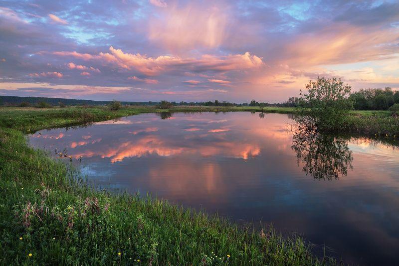 закат, весна, озеро, пруд, отражение, небо тихое местоphoto preview