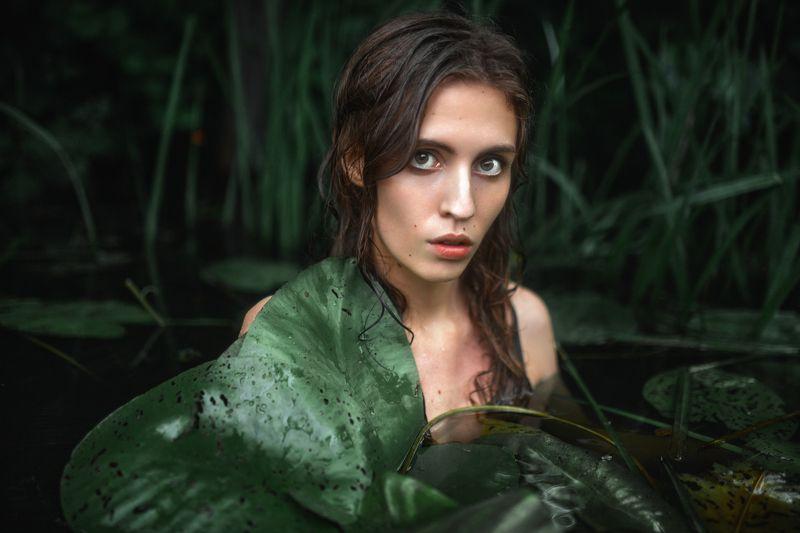 река, портрет, болото, кувшинки, девушка в реке, естественный свет, вода, ***photo preview