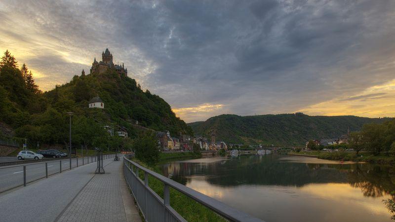 пейзаж, природа, город, закат, река, небо, облака, свет, замок, Европа, Германия, Кохем Evening viewphoto preview