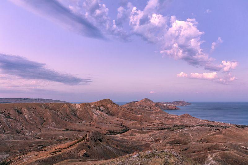 Black sea, Koktebel, Crimea, sunset, sunrise, night sky, moon light Фотоистория одного дня в Коктебеле. Крымphoto preview