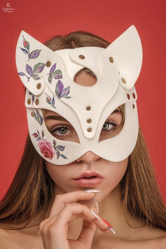 девушка, портрет, маска Кошкаphoto preview