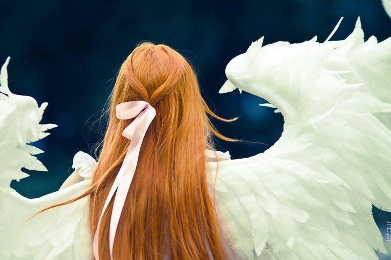 ангел, крылья, длинные, рыжие, волосы, ленточка photo preview