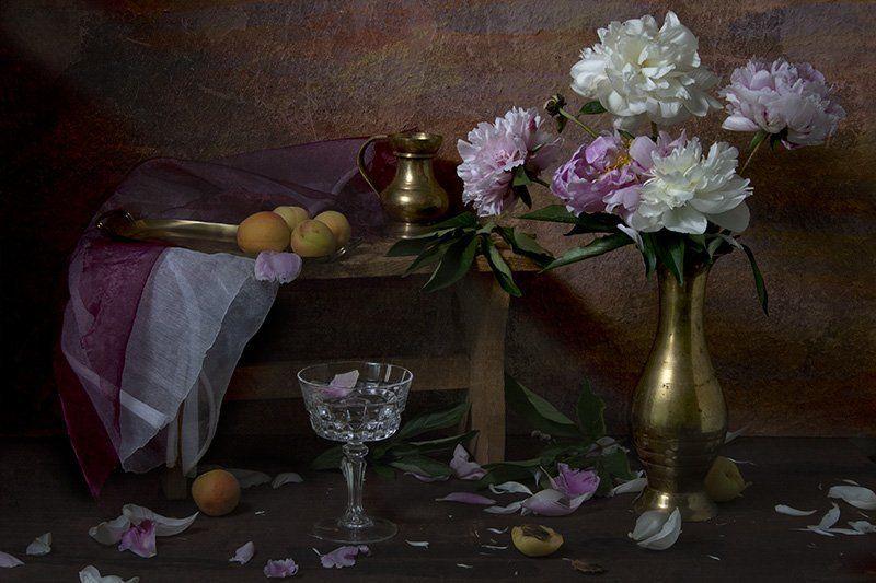 лепестки, посуда, натюрморт, свет, ваза, абрикосы, рюмка, лето, пионы Опадающие пионыphoto preview
