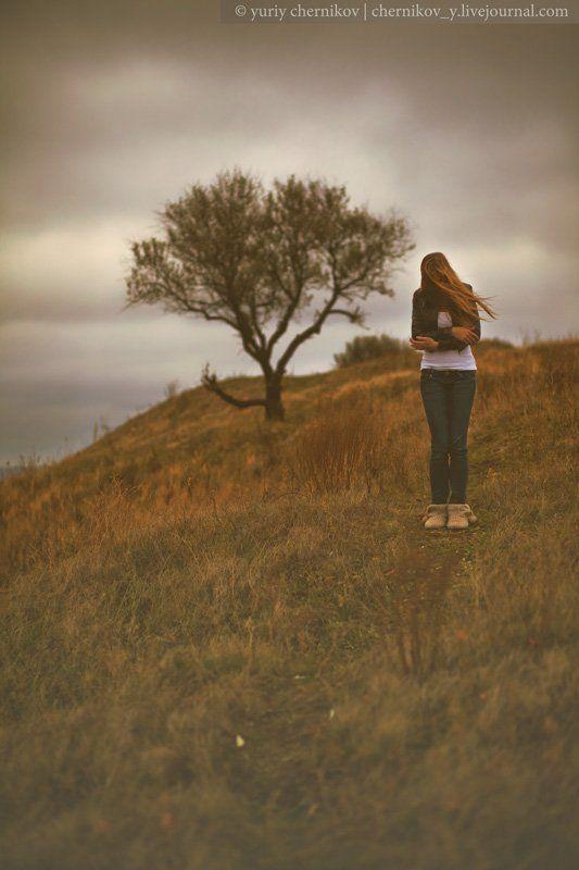 девушка, осень, настроение, ветер photo preview
