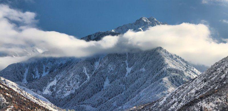 горы, облака, зима, снег воздушный шарфикphoto preview