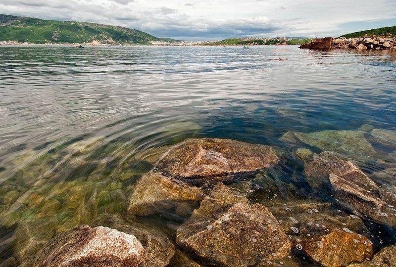 лето, море, охотское, магадан, бухта, нагаева, сопки, чайки, лодка, , бревно photo preview