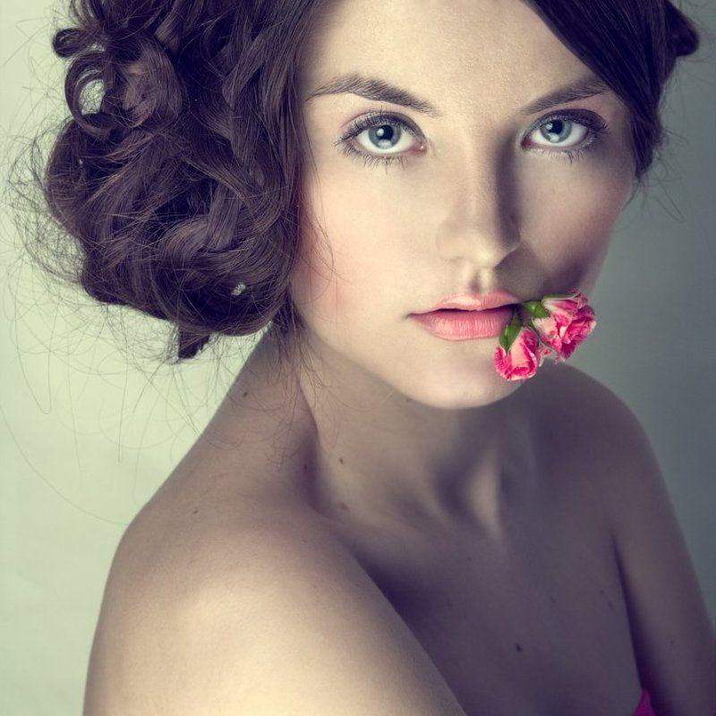 портрет, девушка, роза photo preview