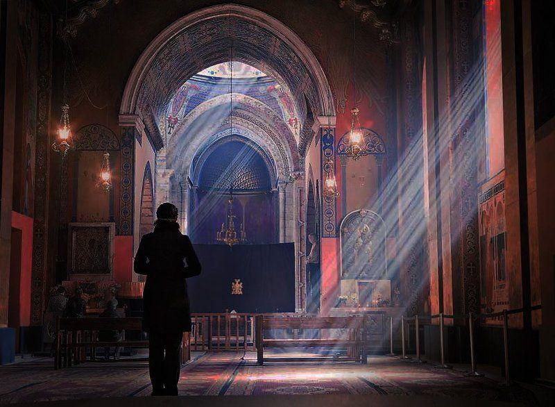 церковь, лучи, лучь, девушка, свет photo preview